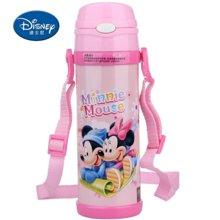 【包邮】迪士尼Disney-保温杯480毫升高真空双层健康儿童学生吸管背带户外水壶杯子-米妮粉