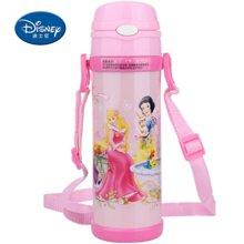 【包邮】迪士尼Disney-保温杯480毫升高真空双层健康儿童学生吸管背带户外水壶杯子-公主粉