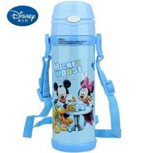 【包邮】迪士尼Disney-保温杯480毫升高真空双层健康儿童学生吸管背带户外水壶杯子-米奇蓝