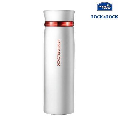 【包郵】樂扣樂扣LOCKLOCK-白色紅圈款輕盈保溫杯450毫升不銹鋼暖水杯直身便攜杯壺