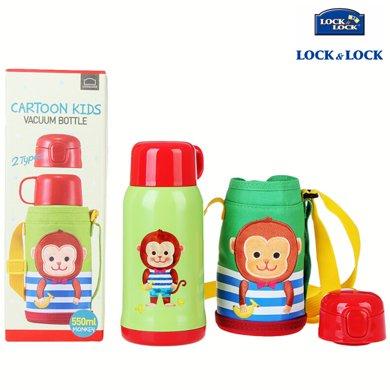 【包郵】樂扣樂扣LOCKLOCK-猴子款不銹鋼雙蓋保溫杯550毫升兒童卡通吸管水杯有背帶便攜暖水壺