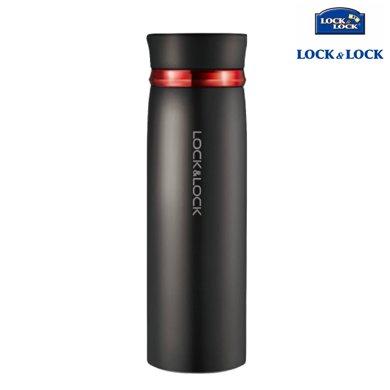 【包郵】樂扣樂扣LOCKLOCK-黑色紅圈款輕盈保溫杯450毫升不銹鋼暖水杯直身便攜杯壺