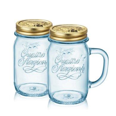 意大利進口波米歐利四季把手杯冰藍杯2件套(梅森杯)(公雞杯)ACTB-S023S
