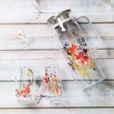 愛屋格林冷水壺玻璃耐熱大容量家用透明涼水壺歐式不銹鋼帶蓋茶壺