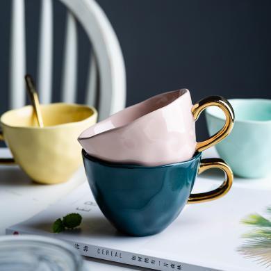 摩登主婦大容量杯子彩謠馬克杯陶瓷杯純色咖啡杯辦公家用簡約水杯