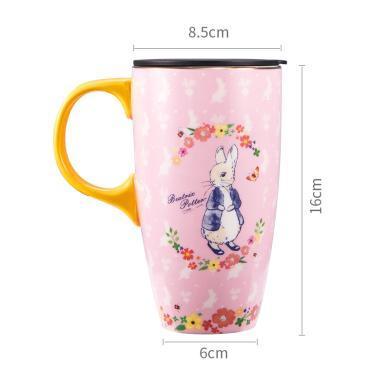 比得兔陶瓷馬克杯大容量帶蓋帶勺杯子創意個性潮流辦公室咖啡杯