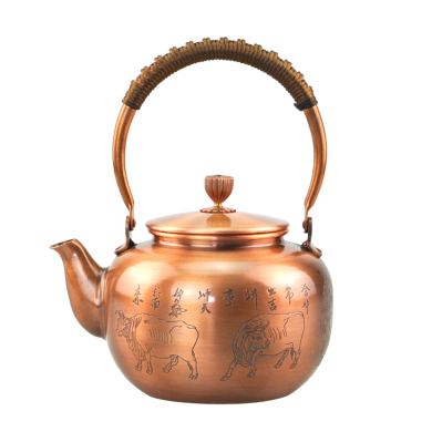 手工纯铜壶 仿古铜茶壶 大号烧水壶加厚紫铜壶煮茶壶 五牛图-素面C-76-1-5