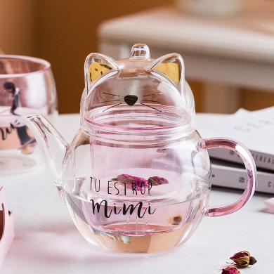 摩登主婦貓咪玻璃茶壺家用泡茶小茶壺茶具套組茶水分離帶把玻璃杯