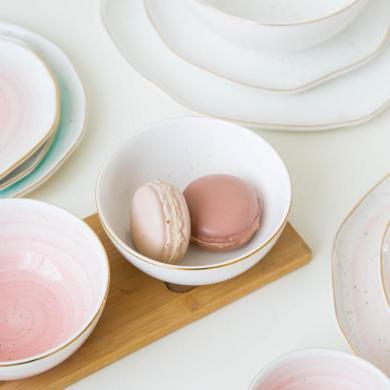 摩登主婦 曼麗 金邊菜盤陶瓷餐具家用大湯碗西餐盤牛排盤碟子飯碗