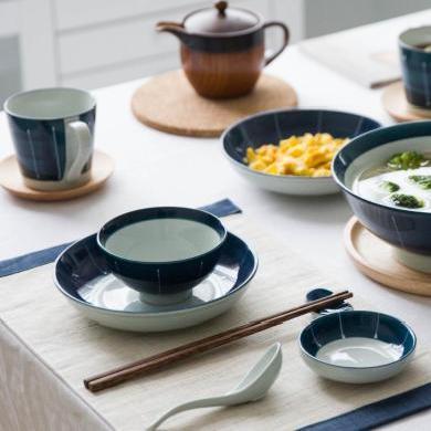 摩登主婦日式墨蘭陶瓷餐具套裝家用米飯碗面碗西餐盤菜盤馬克杯