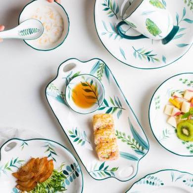 摩登主婦 綠蔭 釉下彩陶瓷餐具家用餐盤菜盤湯盤面碗飯碗杯子碟子