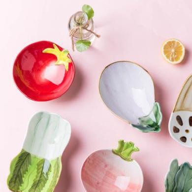 摩登主婦 百蔬 可愛陶瓷小吃碗家用菜碗甜品碗水果沙拉小碗零食盤
