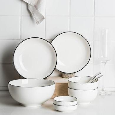 摩登主婦簡歐黑線多人套裝陶瓷餐具碗筷家用碗碟飯碗餐盤湯碗組合