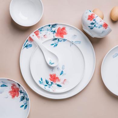摩登主婦 春融 陶瓷盤子菜盤家用創意餐具餐盤湯盤飯碗湯碗碟