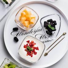 摩登主妇 简约透明玻璃碗沙拉碗加厚异形家用蔬菜水果碗甜品碗