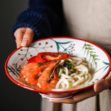 摩登主婦 日式卡通動物陶瓷喇叭碗家用水果沙拉碗湯碗單人拉面碗