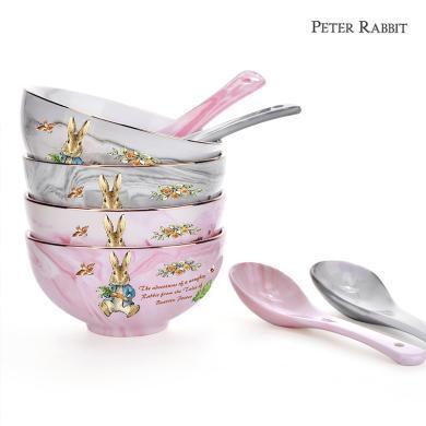 英國比得兔大理石紋碗套裝碗加勺餐具套裝組合裝餐具家用陶瓷碗