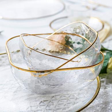 摩登主婦 ins北歐金邊錘紋玻璃碗甜品碗飯碗家用果蔬沙拉碗早餐碗