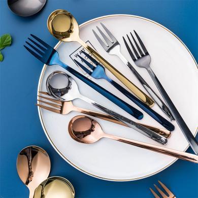 摩登主婦 304不銹鋼家用餐叉勺西餐具叉勺沙拉勺甜品勺子套裝組合