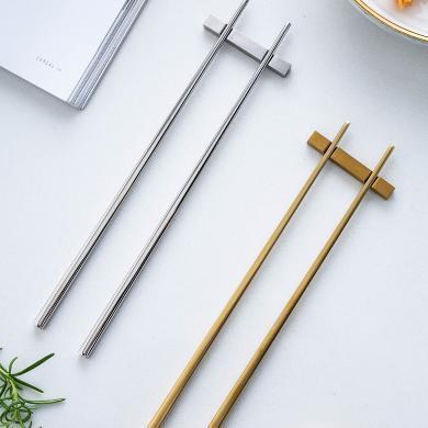 摩登主婦 不銹鋼筷子304家用合金筷子快子金屬筷子合金筷子