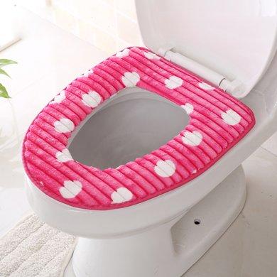 亿美马桶垫圈坐便器暖垫通用便利贴坐垫防水PU加厚保暖简约条纹绒