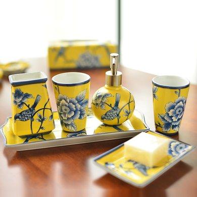 墨菲 手工陶瓷彩繪新中式衛浴套裝洗漱漱口衛生間浴室用品裝飾擺件