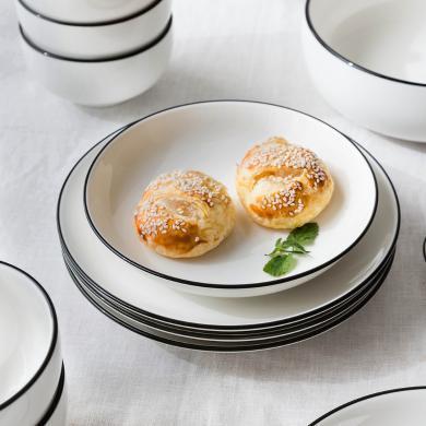 摩登主婦歐式創意黑線陶瓷餐具ins盤子碟子菜盤西餐盤家用碗湯盤