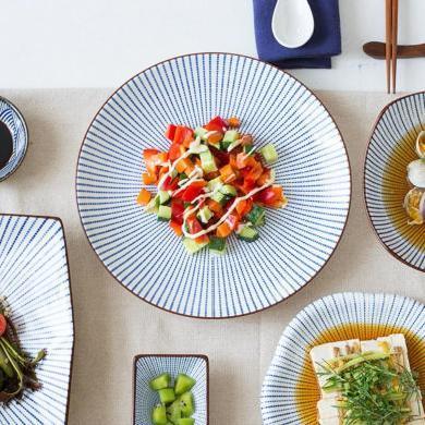 摩登主婦 日式陶瓷餐具 米飯碗面碗湯碗餐盤湯盤 醬料碟 家用盤子