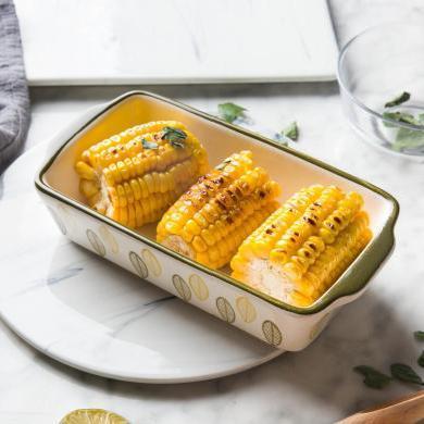 摩登主婦歐式創意雙耳烤盤陶瓷烘焙焗飯盤家用長方形盤子西餐盤