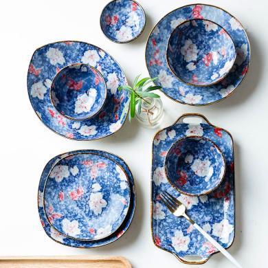 摩登主婦 紫玉蘭 日式創意菜盤子西餐牛排盤魚盤面碗家用陶瓷餐盤