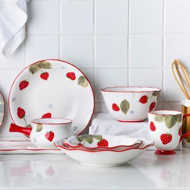 摩登主婦創意可愛草莓餐具網紅ins家用小清新碗盤筷餐具套裝餐盤