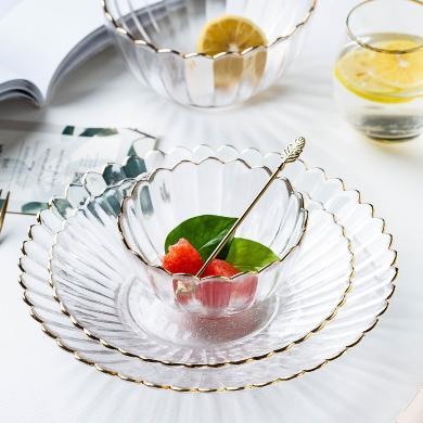 摩登主婦菊皿創意金邊現代家用客廳糖果盤點心盤零食盤玻璃水果盤