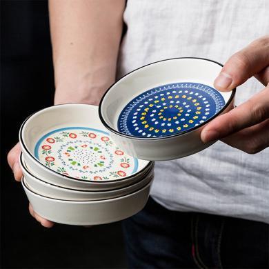摩登主婦歐式民族風陶瓷醬料碟小菜碟調味碟醬油醋碟碟家用碟子