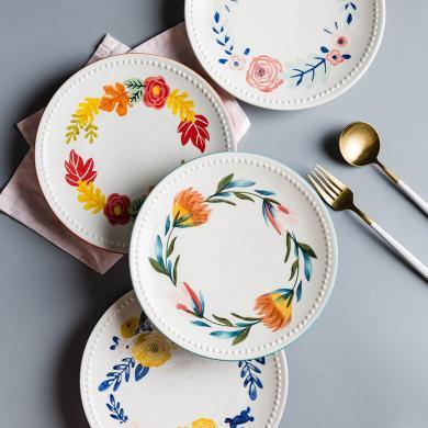 摩登主婦 四季 創意手繪清新花朵釉下彩陶瓷餐具菜盤子家用平盤