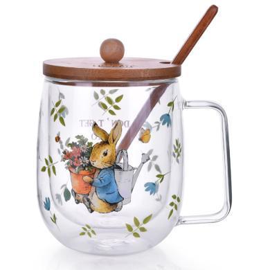 英国比得兔双层隔热耐热玻璃茶杯双层加厚玻璃杯可爱印花水杯