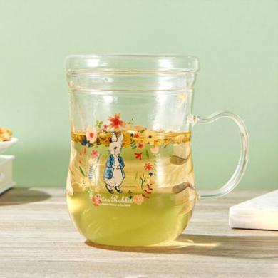 英国比得兔花茶杯耐热玻璃带盖水杯果汁杯茶杯马克杯
