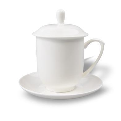 AlfunBel艾芳貝兒 辦公杯 唐山骨質瓷骨瓷純白系列蓋杯辦公蓋杯傳統辦公杯B-69-1