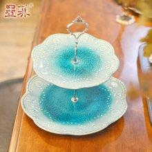 墨菲 欧式冰裂釉蓝色果盘创意现代客厅茶几婚庆简约陶瓷点心盘子