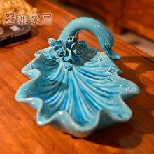 墨菲 手工欧式天鹅冰裂陶瓷果盘 创意现代家居客厅茶几餐桌零食盘