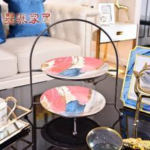 墨菲 简约现代陶瓷双层水果盘 新中式客厅茶几家居铁艺干果点心盘