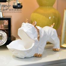 DEVY 簡約現代動物幾何狗裝飾擺件北歐茶幾鞋柜鑰匙雜物收納擺飾