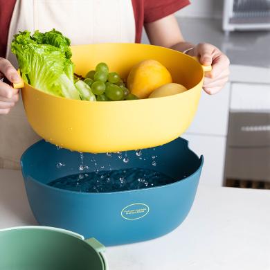 摩登主妇 双层塑料沥水篮洗菜盆洗菜篮家用创意菜篮子水果蓝