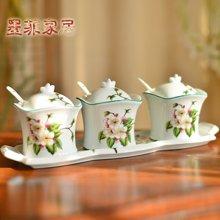 墨菲 歐式田園陶瓷調味罐四件套用品 美式鄉村調料盒創意廚房用品