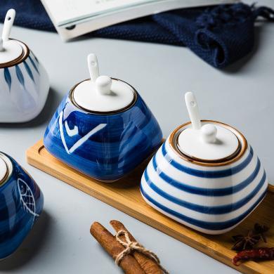 摩登主婦陶瓷家用廚房鹽罐味精調味品收納盒調料罐調味盒組合套裝