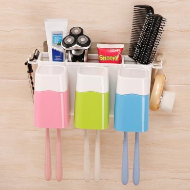 吸壁式牙刷架套裝壁掛衛生間牙刷置物架洗漱杯牙具盒漱口杯牙刷盒
