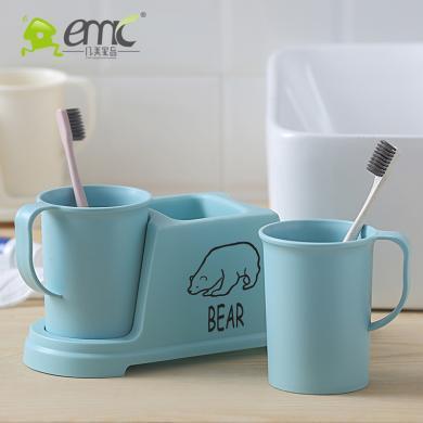 歐式簡約牙刷架帶漱口杯套裝刷牙杯子兒童塑料旅行牙缸衛浴洗漱杯