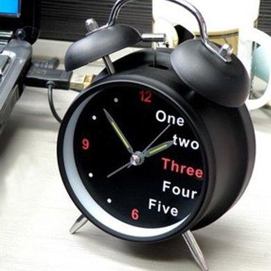 创意双铃打铃座钟 时尚夜光时钟 懒人起床可爱静音电子闹钟
