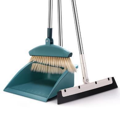 掃把簸箕套裝家用軟毛防風刮水器塑料掃帚清潔組合掃地神器帶梳齒