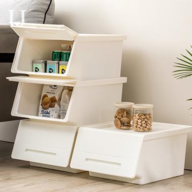 佐敦朱迪加厚斜口收納儲物箱 兒童雜物大號收納箱衣物整理箱收納盒(2個裝)