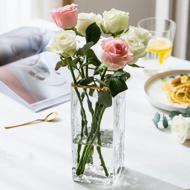 摩登主婦 北歐ins風客廳餐桌裝飾擺件透明水晶玻璃花瓶干花仿真花